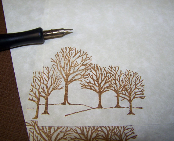Winter Trees - Vintage - Parchment Paper - Letter Writing ...